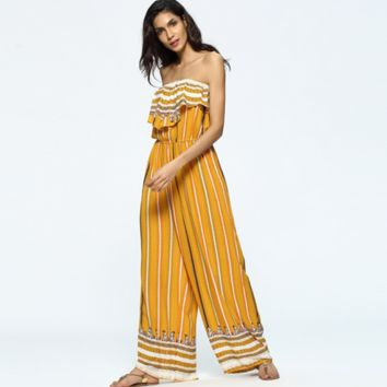 Fashion Multicolor Stripe Print Sleeveless Backless Frills Strapless Loose Romper Jumpsuit Trousers