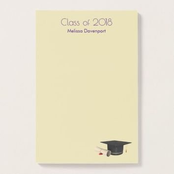 Graduation Cap and Diploma on Purple Class of 20XX Post-it Notes