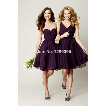 Short Chiffon Purple Bridesmaid Dresses Knee Length Short Prom Dress Party Dress Cheap Bridesmaid Dresses under 50
