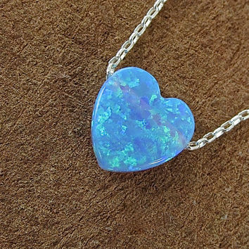 Heart Blue Opal Sterling Silver Chain Necklace gift for her
