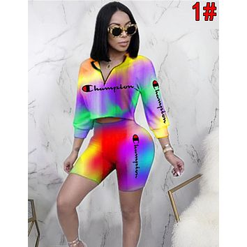 Champion Newest Women Casual Gradient Short Sleeve Top Shorts Set Two-Piece 1#