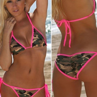 Summer Beach Camouflage Print Push-up Bikini Set