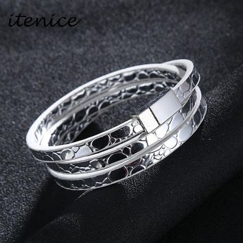 Itenice 2018 Fashion Classic Four Colors Charm Leather Bracelets & Bangles Jewelry For Women Long Magnet Clasp Statement Jewelry