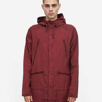 Bungee Panel Long Nylon Jacket in Maroon