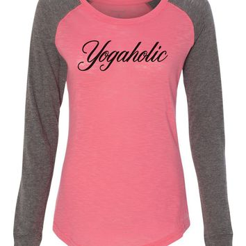 "Womens ""Yogaholic"" Long Sleeve Elbow Patch Contrast Shirt"