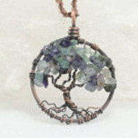 Tree-of-Life Tropic Seas Petite Necklace Florite Pendant Brown Chain Wire Wrapped Tree Precious Gemstone Handmade Jewelry