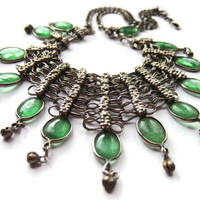 Vintage green glass and silver tone metal fringe necklace, chainmail bib necklace, ethnic tribal Indian necklace, belly dancer,  boho, #115.