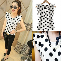 SIMPLE - Fashionable Summer Chiffon Women Slim Short Sleeve Polka Dot Top b4263