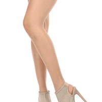 Nude Netted Sling Back Peep Toe Platform Booties