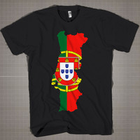 PORTUGAL Flag Map WorldCup  Mens and Women T-Shirt Available Color Black And White
