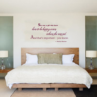 Housewares Marilyn Monroe Quote Wall Vinyl Decal Sticker She was a girl who knew... V271