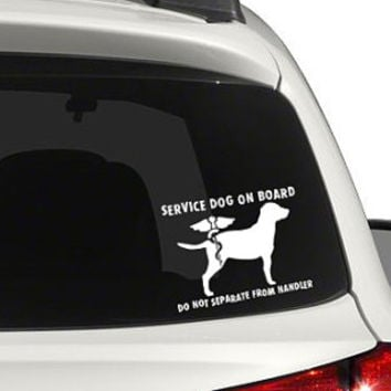 SERVICE DOG - Do Not Separate From Handler - vinyl decal for car windows (car stickers). Lab or Golden Retriever option