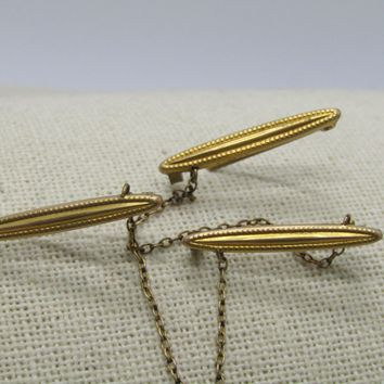 Victorian Scattered Bar Brooch Set of Three Pins, Gold Filled, C-Clasps
