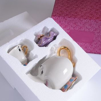 New Cartoon Beauty And The Beast Teapot Mug Mrs Potts Chip Tea Pot Cup One Set Lovely Gift Fast Post