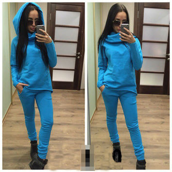 Blue Hoodies and Pants Set