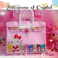 Swarovski / Czech Crystals - Hermer Birkin Inspired Purse / Handbag with Hello Kitty and Cutie Bears  - ZoeCrystal
