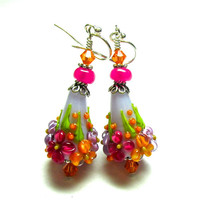 Floral Cone Earrings Purple Earrings Colorful Earrings Lampwork Earrings Flower Earrings Artisan Earrings Beaded Earrings Floral Earrings