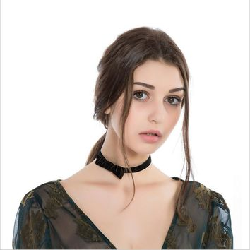 Fashion Black Trendy Flocked Cloth Bow knot Collar Necklaces for Women