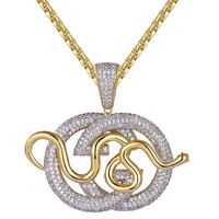 14k Gold Finish Iced Out Luxury Snake Logo Pendant Chain