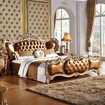The modern designer leather soft bed / large double bedroom furniture, American style