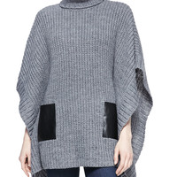 Women's Leather-Pocket Knit Poncho - MICHAEL Michael Kors - Pearl heather