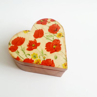 Trinket heart box decoupage poppies flowers keepsake box small box