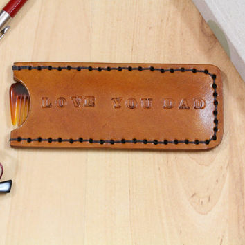 Love You Dad Comb Case - Leather Comb Case - Love You Dad Leather Pocket Comb Cover - Unique Birthday Gift For Dad - Christmas Gift For Dad