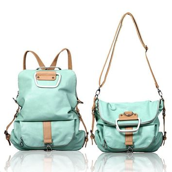 Juice Action Women's Leather Crossbody Shoulder Handbag Backpack Mint Green
