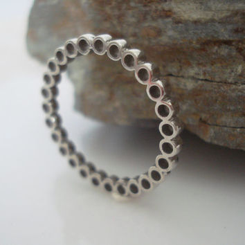 Sterling silver circle band stacking ring knuckle ring