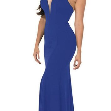 Deep V-Neck Halter Long Prom Dress Royal Blue