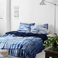 Noodle Indigo Tie-Dye Bed Blanket- Indigo Full/queen