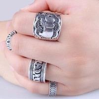 Vintage Elephant Lucky Rings for Women Jewelry