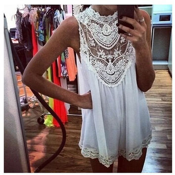 Mini Sleeveless Lace Sexy Hollow Out Skirt One Piece Dress [8973621830]