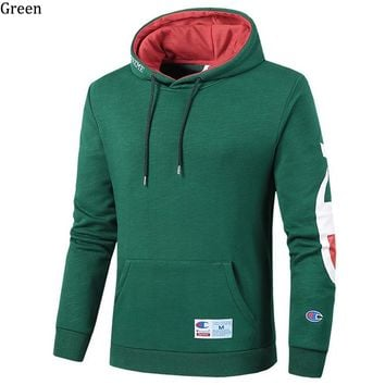 Champion autumn and winter plus velvet couple models long sleeve hoodies Green