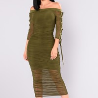 Shauna Off Shoulder Dress - Olive