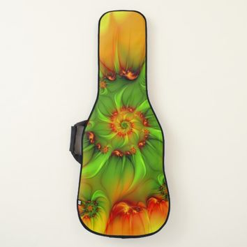 Hot Summer Green Orange Abstract Colorful Fractal Guitar Case