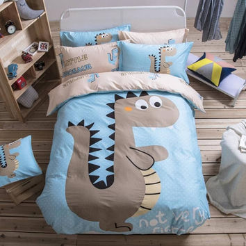 Jurassic Dinosaur Bedding Cute Printing Kids Bedclothes Light Blue Cotton Qualified Duvet Cover Set for Home Twin Queen Size