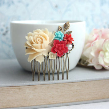 Ivory Rose, Coral, Red, Aqua Blue Flower Bouquet, Sprig Leaf Hair Comb.Coral, Blue Wedding. Bridal Hair Comb, Bridesmaids Gift, Red Wedding,