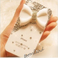 Charming White Bow, iPhone 5 case, iphone 4 case, bling iphone 4 case,iPhone 4s case,unique iphone 4 case, iPhone case