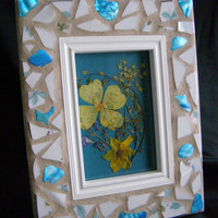 4 x 6 White Pottery with Blue Abalone Shell Frame
