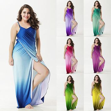 Ombre Wrap Plus Size Maxi Dress Summer Sexy Beach Dress Big Size 3XL 4XL robe femme
