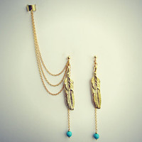 gold feather ear cuff and earrings, chains ear cuff, feather earrings,  feather ear cuff, tribal earrings, turquoise earrings