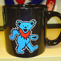 Grateful Dead Oversized Dancing Bear Black Mug 20 oz. SYF Jerry Garcia