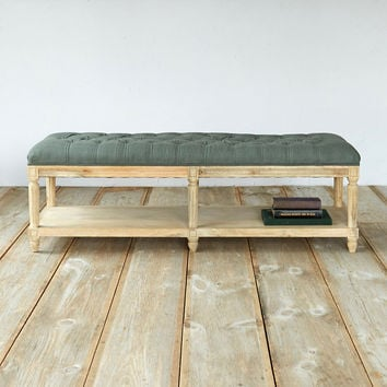 Tufted Linen Bench