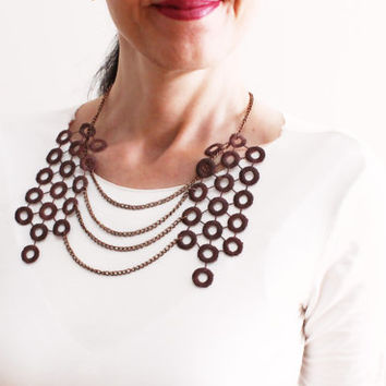 Brown Lace Collar Necklace, Brown Statement Chain Peter Pan collar necklace, Circle collar, Quilted Detachable collar