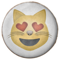 Smiling Cat Face With Heart Shaped Eyes Emoji Chocolate Covered Oreo