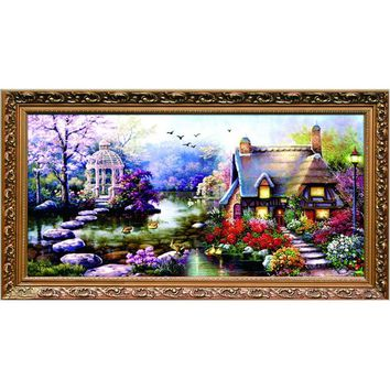 Hot Needlework,DIY DMC Cross stitch,Sets For Embroidery kit Garden Cottage cotton thread home decor Counted Cross-Stitching