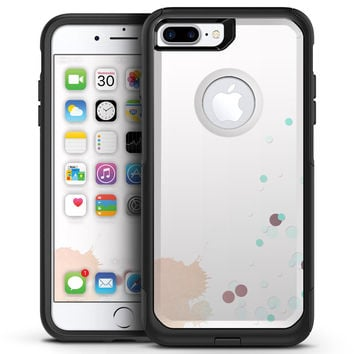 Abstract Scattered Teal Dots with Paint Spill - iPhone 7 or 7 Plus Commuter Case Skin Kit