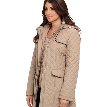 Larry Levine Quilted Barn Jacket w/ Hood
