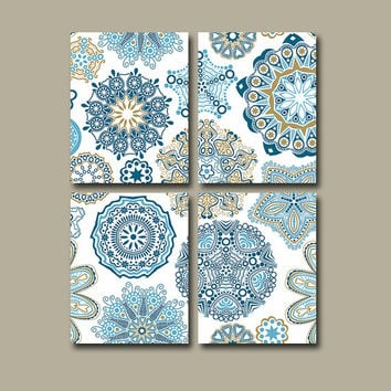 Flower Wall Art Canvas Blue Gold Bedroom Nursery Decor Bathroom Mandala  Custom Colors Floral Set of 4 Prints Bedding Comforter